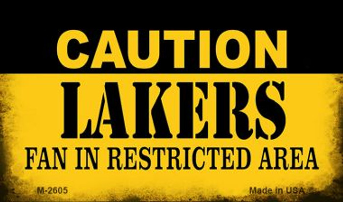 Caution Lakers Fan Area Wholesale Magnet M-2605