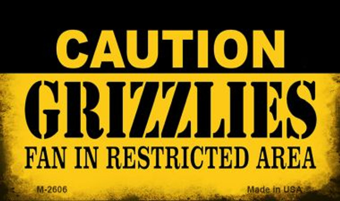 Caution Grizzlies Fan Area Wholesale Magnet M-2606