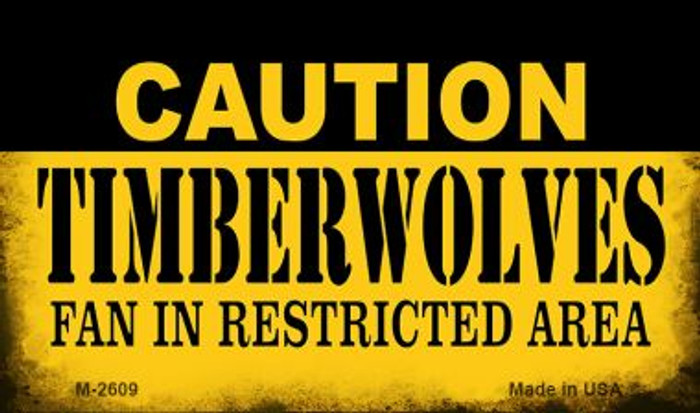 Caution Timberwolves Fan Area Wholesale Magnet M-2609
