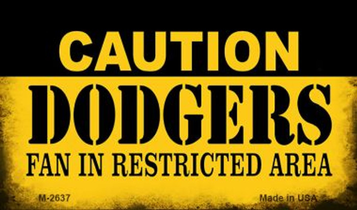 Caution Dodgers Fan Area Wholesale Magnet M-2637