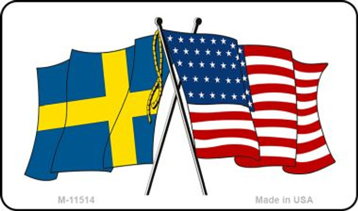 Sweden Crossed US Flag Wholesale Magnet M-11514