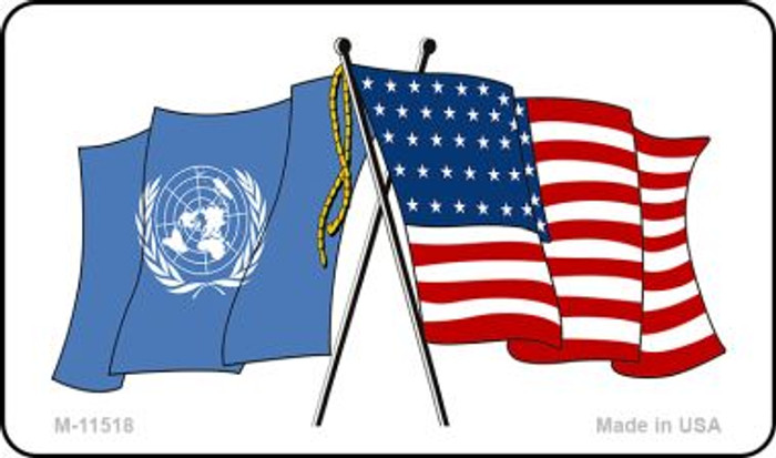 United Nation Crossed US Flag Wholesale Magnet M-11518