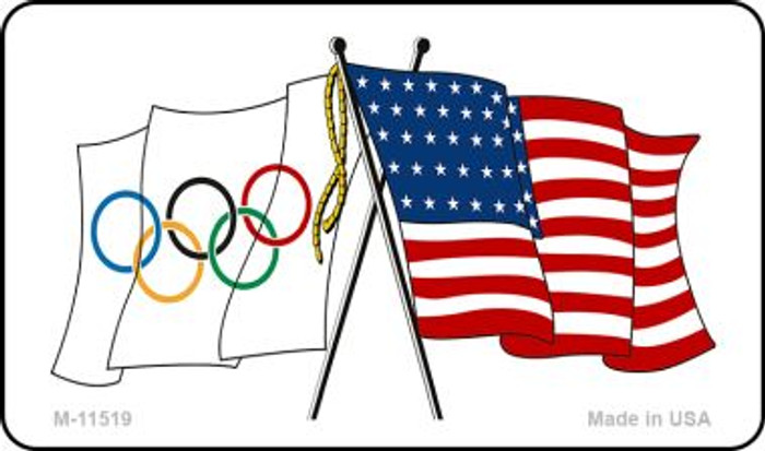 Olympic Crossed US Flag Wholesale Magnet M-11519