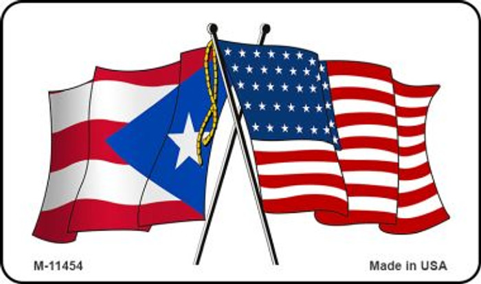 Puerto Rico Crossed US Flag Wholesale Magnet M-11454