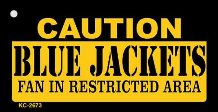 Caution Blue Jackets Fan Area Wholesale Key Chain