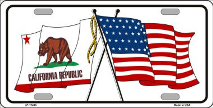 California Crossed US Flag Wholesale License Plate LP-11465