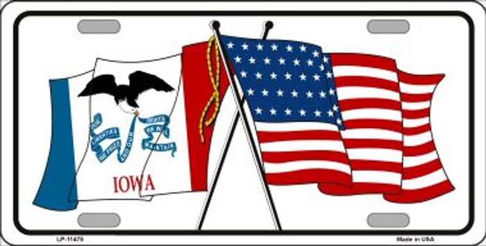 Iowa Crossed US Flag Wholesale License Plate LP-11475