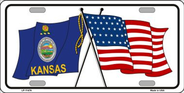 Kansas Crossed US Flag Wholesale License Plate LP-11476