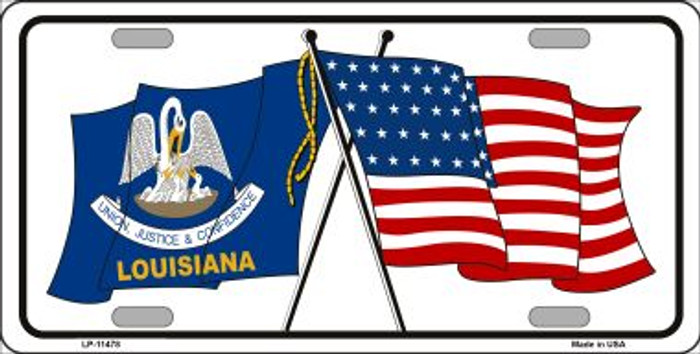 Louisiana Crossed US Flag Wholesale License Plate LP-11478
