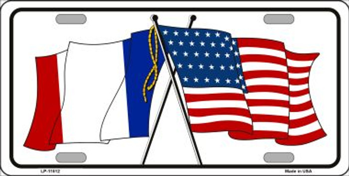France Crossed US Flag Wholesale License Plate LP-11512