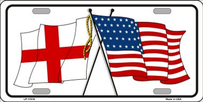 England Crossed US Flag Wholesale License Plate LP-11516