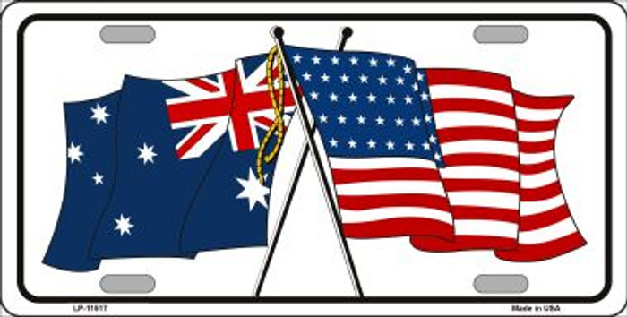 Australia Crossed US Flag Wholesale License Plate LP-11517