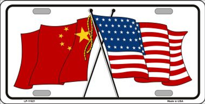 China Crossed US Flag Wholesale License Plate LP-11521