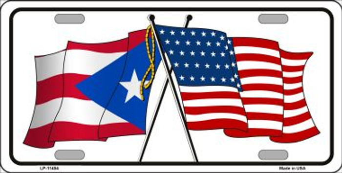 Puerto Rico Crossed US Flag Wholesale License Plate LP-11454