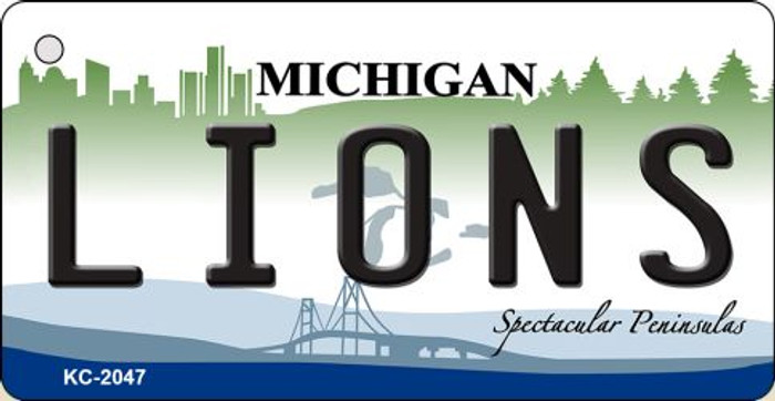 Lions Michigan State License Plate Wholesale Key Chain KC-2047
