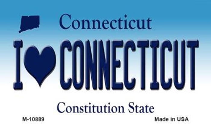 I Love Connecticut State License Plate Wholesale Magnet M-10889