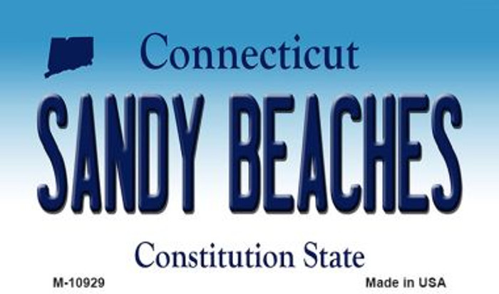 Sandy Beaches Connecticut State License Plate Wholesale Magnet M-10929