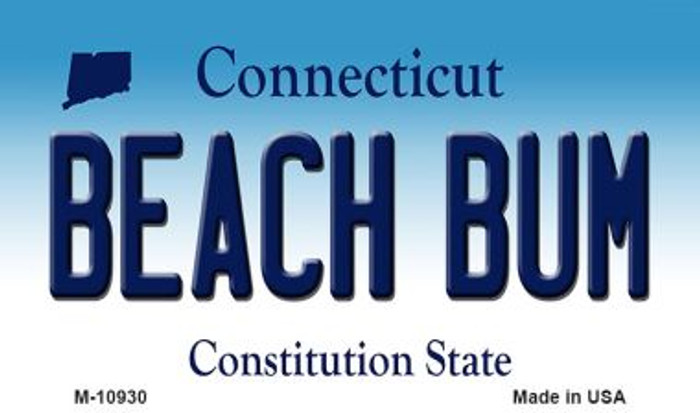 Beach Bum Connecticut State License Plate Wholesale Magnet M-10930