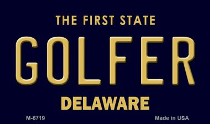 Golfer Delaware State License Plate Wholesale Magnet M-6719