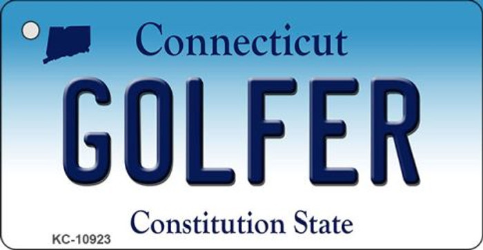 Golfer Connecticut State License Plate Wholesale Key Chain KC-10923