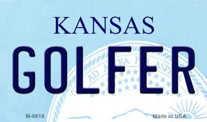 Golfer Kansas State License Plate Novelty Wholesale Magnet M-6619