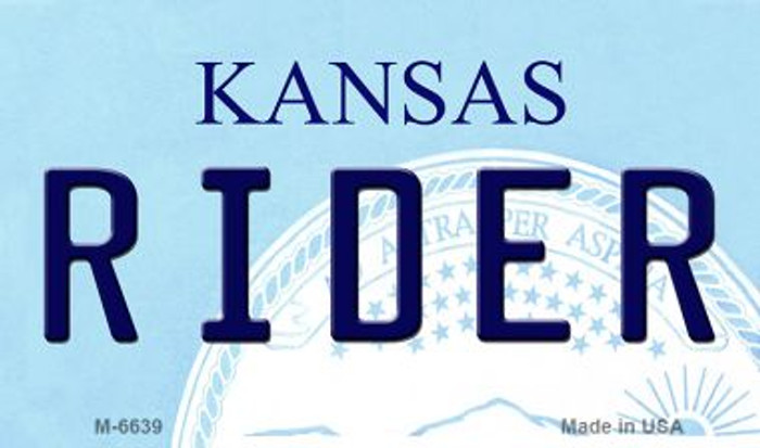 Rider Kansas State License Plate Novelty Wholesale Magnet M-6639