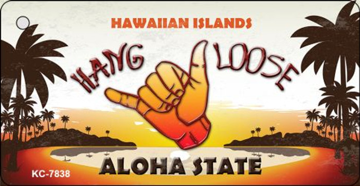 Hang Loose Hawaiian Islands Novelty Wholesale Metal Key Chain KC-7838