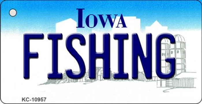 Fishing Iowa State License Plate Novelty Wholesale Key Chain KC-10957