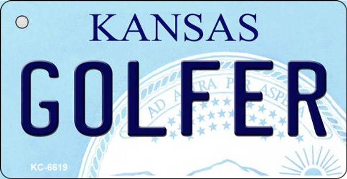 Golfer Kansas State License Plate Novelty Wholesale Key Chain KC-6619