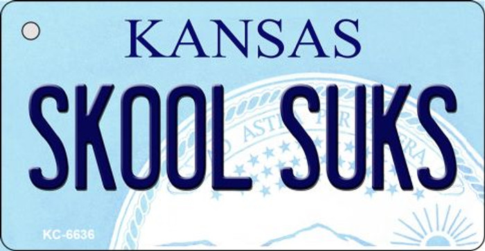 Skool Suks Kansas State License Plate Novelty Wholesale Key Chain KC-6636