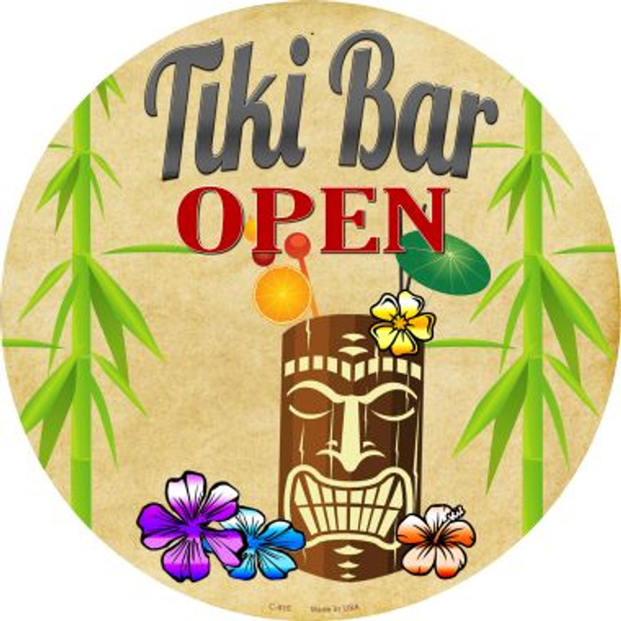 Tiki Bar Open Wholesale Metal Novelty Circular Sign C-815