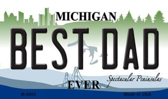 Best Dad Michigan State License Plate Novelty Wholesale Magnet M-2805