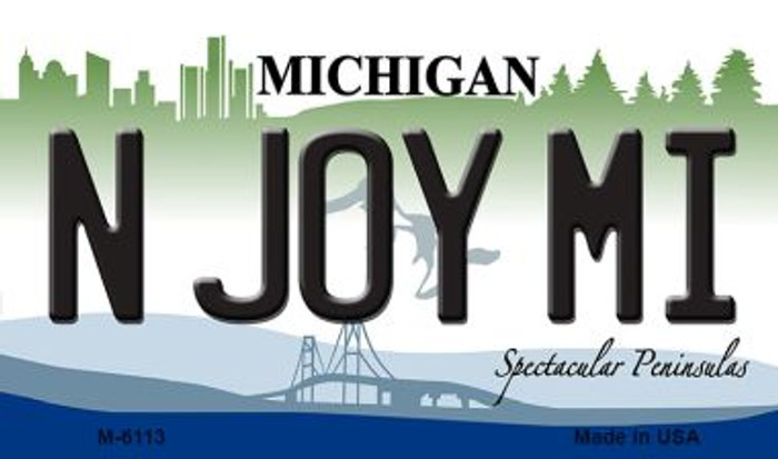 N Joy MI Michigan State License Plate Novelty Wholesale Magnet M-6113