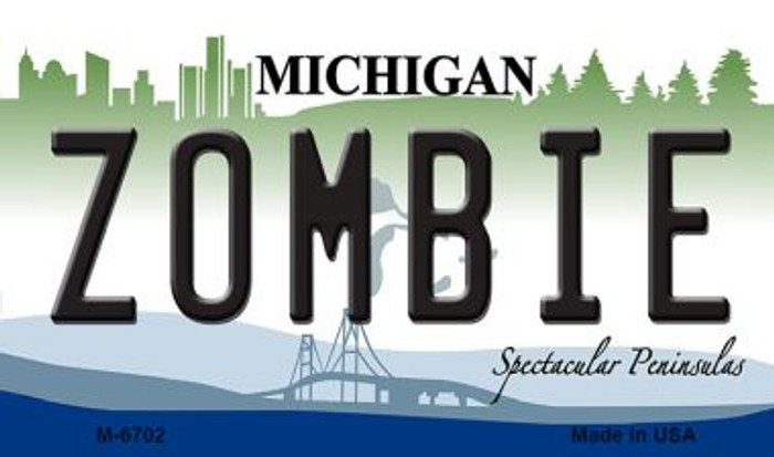 Zombie Michigan State License Plate Novelty Wholesale Magnet M-6702