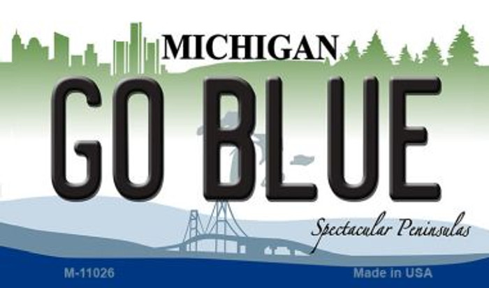 Go Blue Michigan State License Plate Novelty Wholesale Magnet M-11026