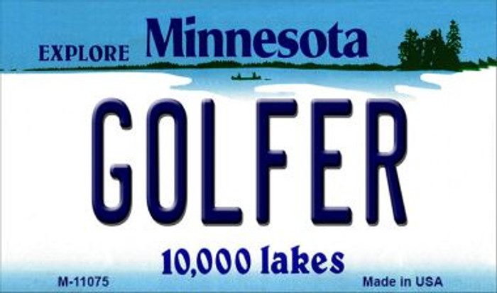 Golfer Minnesota State License Plate Novelty Wholesale Magnet M-11075