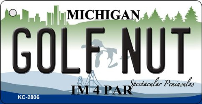 Golf Nut Michigan State License Plate Novelty Wholesale Key Chain KC-2806