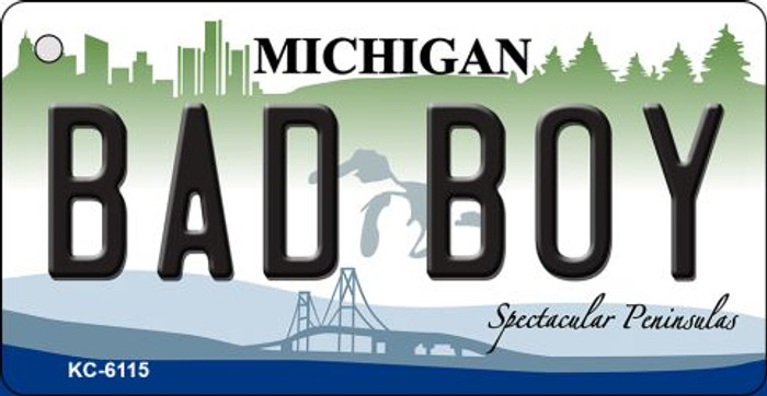 Bad Boy Michigan State License Plate Novelty Wholesale Key Chain KC-6115