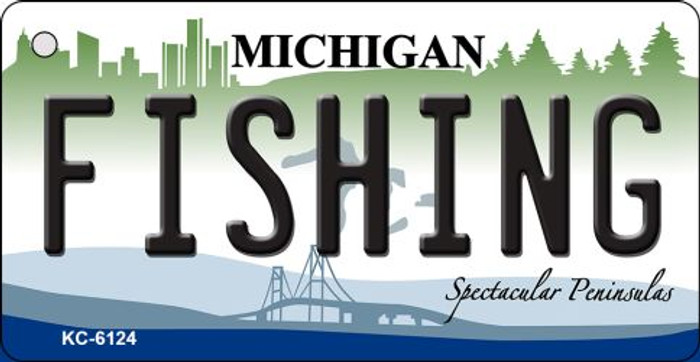 Fishing Michigan State License Plate Novelty Wholesale Key Chain KC-6124