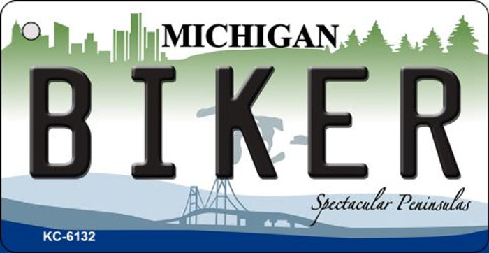 Biker Michigan State License Plate Novelty Wholesale Key Chain KC-6132