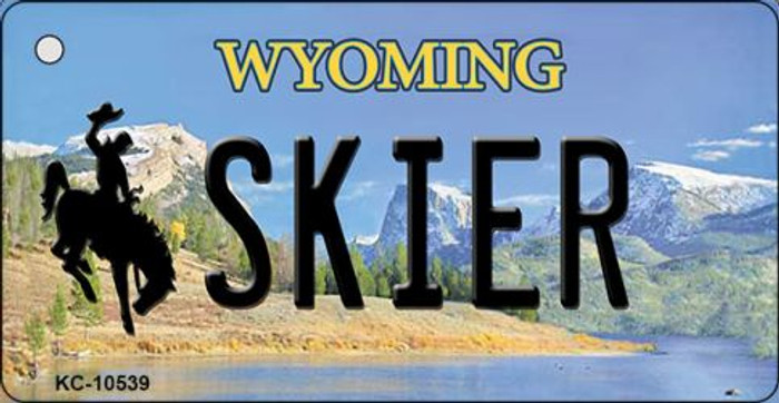 Skier Wyoming State License Plate Wholesale Key Chain