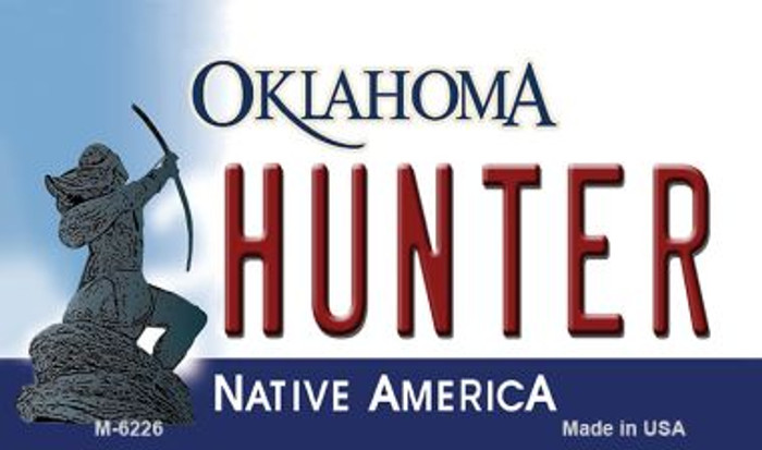 Hunter Oklahoma State License Plate Novelty Wholesale Magnet M-6226