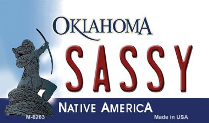 Sassy Oklahoma State License Plate Novelty Wholesale Magnet M-6263
