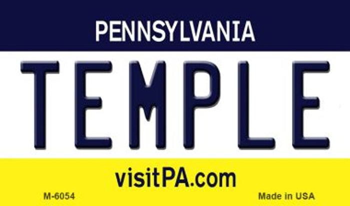 Temple Pennsylvania State License Plate Wholesale Magnet M-6054
