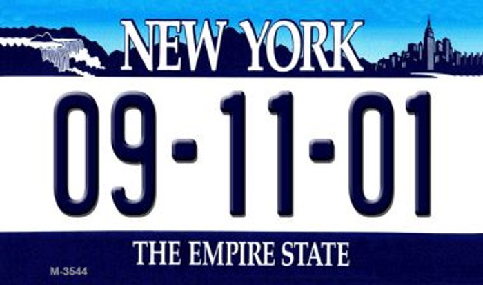 09-11-01 New York State License Plate Wholesale Magnet M-3544