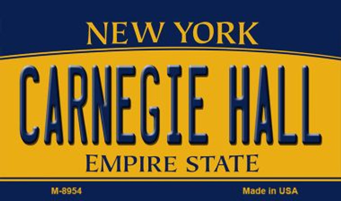 Carnegie Hall New York State License Plate Wholesale Magnet M-8954