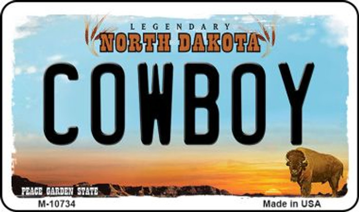 Cowboy North Dakota State License Plate Wholesale Magnet M-10734
