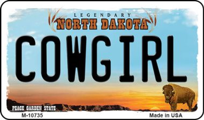 Cowgirl North Dakota State License Plate Wholesale Magnet M-10735