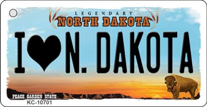 I Love N Dakota State License Plate Wholesale Key Chain KC-10701