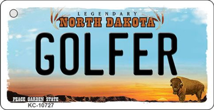 Golfer North Dakota State License Plate Wholesale Key Chain KC-10727